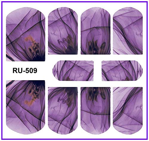 NAIL ART NAIL WATER STICKER DECAL FULL COVER FLOWER X RAY TRANSPARENT PETALS FLOWER TULIP VINE LEAF RU505-510 RU509
