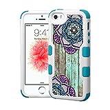 iPhone SE Case Fashion Boho Mandala, Extra Shock-Absorb Clear back panel + Engineered TPU bumper for iPhone 5 / 5s / iPhone SE (2016) Blue Cover (Fashion Boho Mandala)