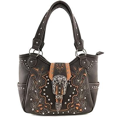 Justin West Tooled Floral Embroidery Rhinestone Buckle Studs Shoulder Concealed Carry Handbag Purse