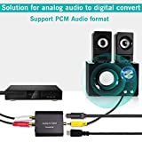 Analog to Digital Audio Converter,Hdiwousp Aluminum RCA to Optical with Optical Cable, Stereo L/R and 3.5mm Jack to Digital Toslink Coaxial Audio Adapter for PS4 Xbox HDTV DVD Headphone