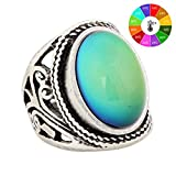 Mojo Handmade Unique Pattern Antique Sterling Silver Plating Oval Stone Color Change Mood Ring MJ-RS019 (9)