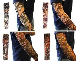 Efivs Arts Xt Series Classic Temporary Fake Tattoo Arm Sleeves Leg Stockings Accessories for Men Women 10 Pcs (A+B)