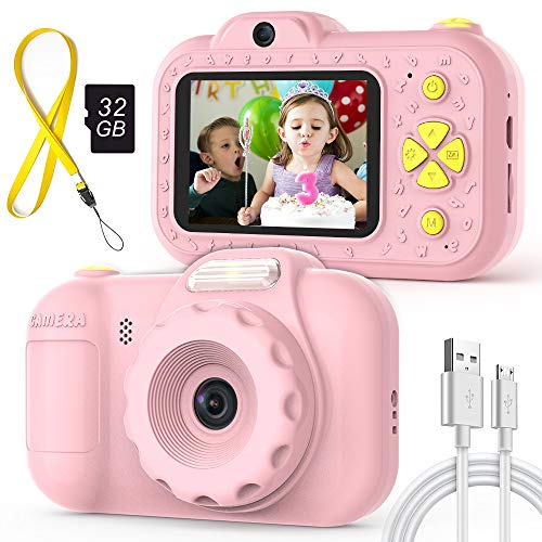 2019 New Digital Kids Toy Cameras Gifts for Girls, LED Flash, 16MP Front & Rear Camera, IPS Eye-Protecting Screen, Shockproof Safe Silicone, Video Record Selfie Camera for Preschool Children, Pink (Best Shockproof Camera 2019)