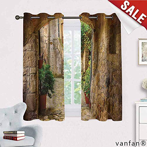 Big datastore Scenery Curtain Mount,Landscape from Another Door Antique Style Stone Village Tuscany Italian Valley Room Darkening,Multicolor W55 x L72