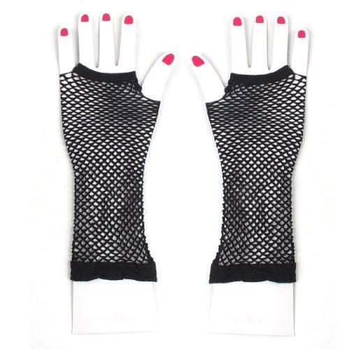 Pair Schwarze dehnbarem Netzfischnetz Elbow Finger Goth Armlinge für die Dame