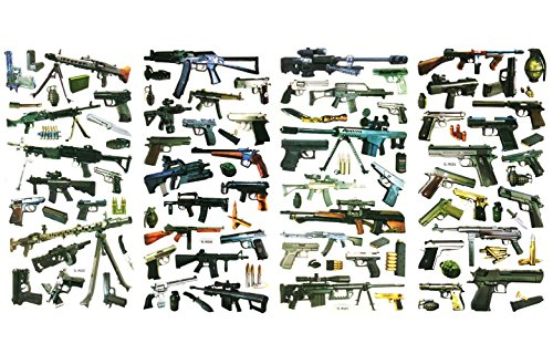 3D-SET025-GUN 4 Sheets 3D Gun Toy Stickers For Kids - Puffy Dimensional Stickers - (Gun, Knife, Binoculars, Bomb, Weapon Sticker) Size 3.75 X 7.5 (Military Toy Guns)