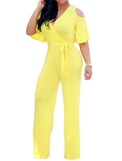 705a8ea28cfb Image Unavailable. Image not available for. Color  CutieLove Women s Sexy  Wrap Deep V Neck Cold Shoulder Ruffle Sleeve Wide Leg Jumpsuit With Belt
