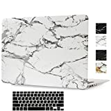 MacBook Pro Retina 15 Inch Case,Hica Ultra Slim Lightweight Rubberized Marble Pattern Matte Protective Hard Cover Case with Keyboard Cover for MacBook Pro Retina 15.4 inch (A1398)-White