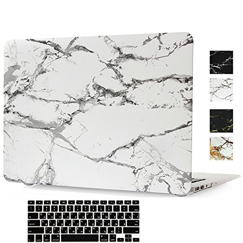 MacBook Pro Retina 15 Inch Case,Hica Ultra Slim Lightweight Rubberized Marble Pattern Matte Protective Hard Cover Case with Keyboard Cover for MacBook Pro Retina 15.4 inch (A1398)-White by Hica