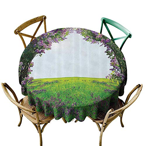 (Jbgzzm Dust-Proof Round Tablecloth Magic Home Decor Collection Meadow Field with Violet Flowers Between Trees Dream Inspirational Habitat Landscape and Durable D71 Lilac Green)