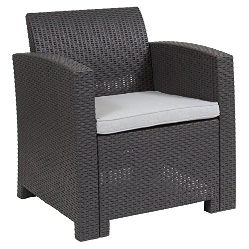 Gray Faux Rattan Chair with All-Weather Light Gray Cushion ()