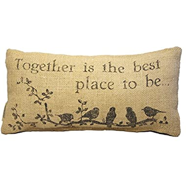 Small Burlap Together Country Pillow