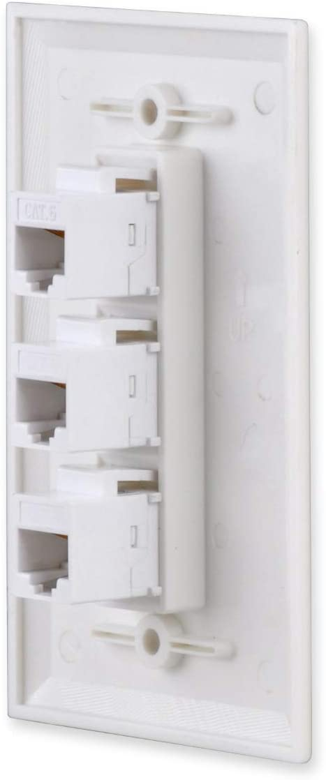 RJ45 CAT6 Network Keystone Jack Inserts Female Connector for Wallplate 3 Ports DCFun Ethernet Wall Plate