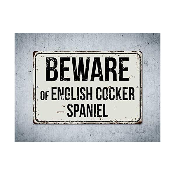"Deerts 266VS Beware of English Cocker Spaniel 8"" x 12"" Vintage Aluminum Retro Metal Sign 2"