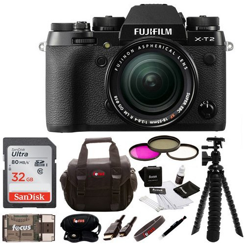 Fujifilm X-T2 Mirrorless Digital Camera w/ 18-55mm Lens + Focus Memory Card & Gadget Bag Bundle (32GB) by Fujifilm