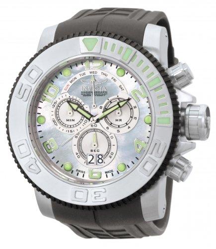 Invicta Men's 0861 Sea Hunter Pro Diver Chronograph Platinum Mother-Of-Pearl Dial Grey Polyurethane Watch