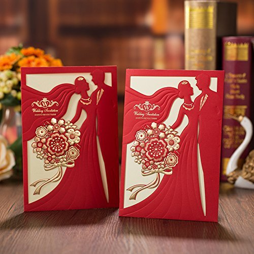 PONATIA 25 PCS MR & MRS Laser Cut Square Wedding Party Invitations Cards Set with Lace Flowers for Engagement Wedding Party (Red Color) ()