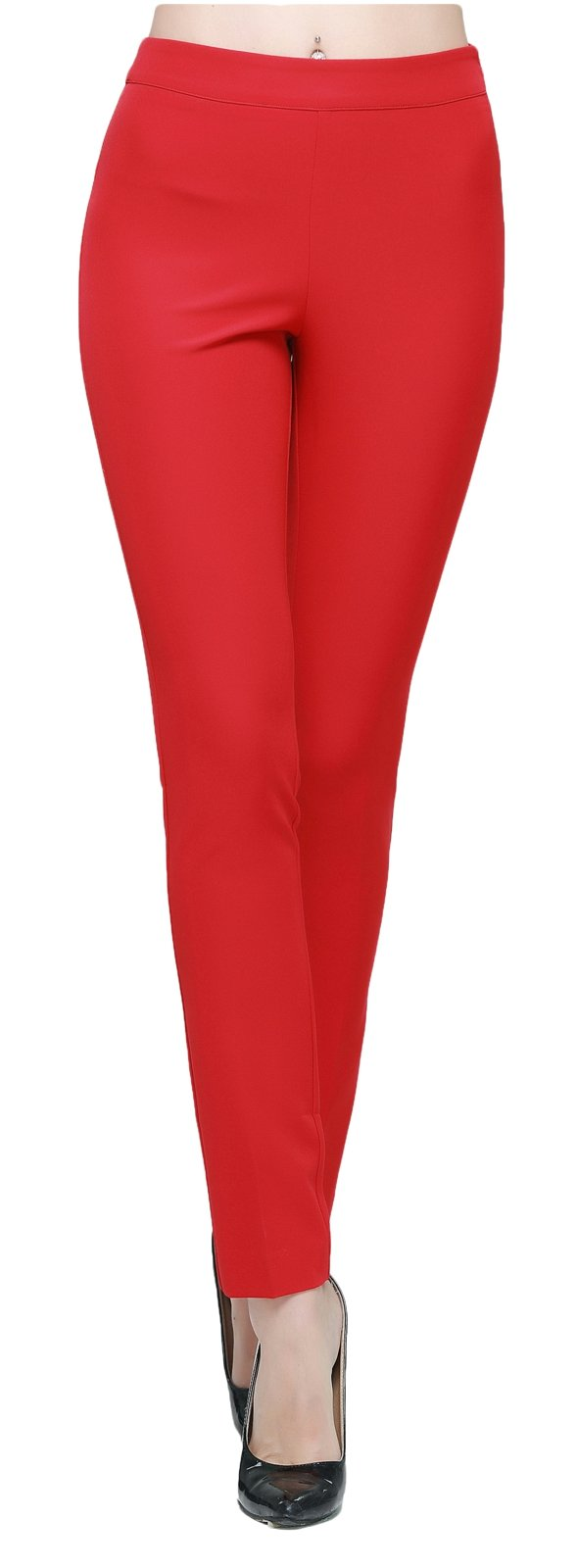 Orolay Women's Ankle Length Trousers High-Waisted Red 8
