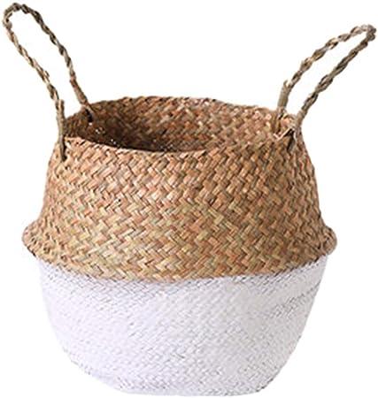 Gxing Cesta de mimbre para almacenamiento de paja de hierba marina, maceta de ratán para la colada, caja de almacenamiento, Blanco, 2XL: Amazon.es: Hogar