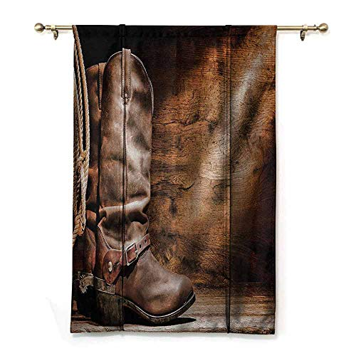 DONEECKL Insulated Sunshade Roman Curtains Western Decor Old Leather Working Roper Boots on Timber Backdrop with Sun Rays Weathered Photo Children's Bedroom Curtain W36 xL64 Brown