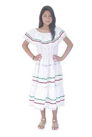 8a71e0750aa Amazon.com  Mexican Clothing Co Girls Mexican Fiesta Dress Poplin M(10)  White 4399  Clothing