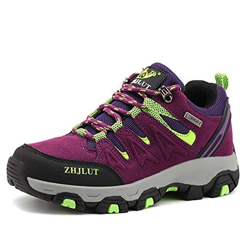 ZOEASHLEY Trekking Wanderschuhe Herren Damen Wasserdicht Outdoor Schuhe Walkingschuhe Gr.36-47 Lila
