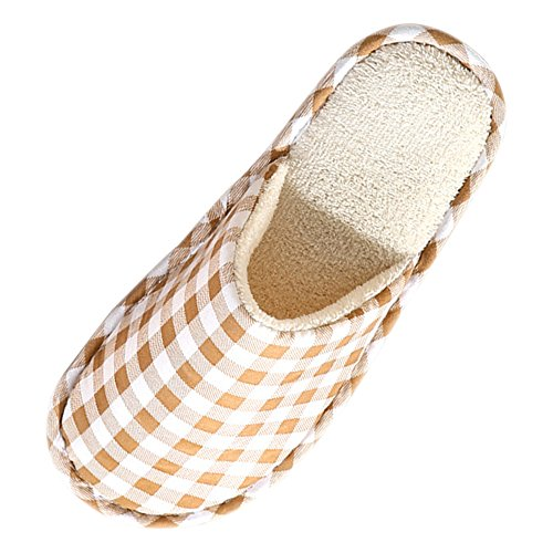 Marron Maison Hommes Chaud BOZEVON Coton amp; Hiver Chaussons Peluche Chaussures Pantoufles Confortable Femmes qxXZ7Xg