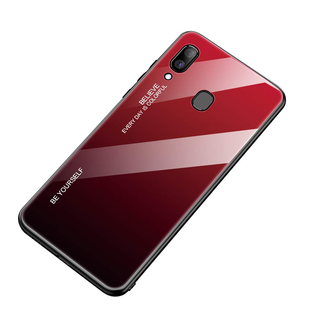 AIsoar Compatible with Galaxy A30/A20 Colored Gradient Tempered Glass Case,Tempered Glass Back Cover + Soft TPU Bumper Frame Shockproof Anti-Scratch Protective Cover Shell (Red + Black) by AIsoar