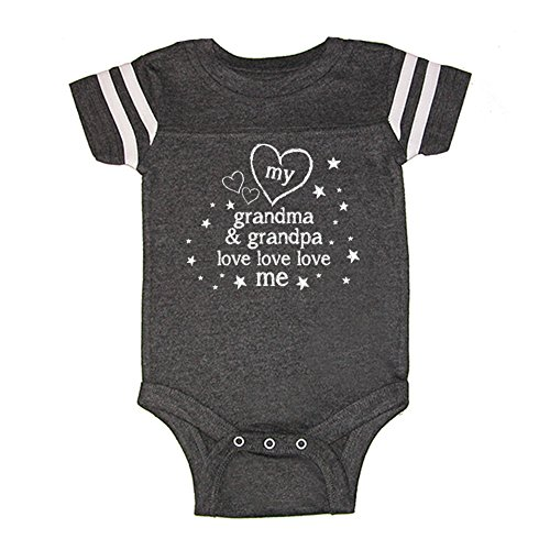 Grandma Golf Shirt (Mashed Clothing Unisex Baby - My Grandma & Grandpa Love Love Love Me Baby Bodysuit (16 Colors Available) (Smoke/White, 6 Months))