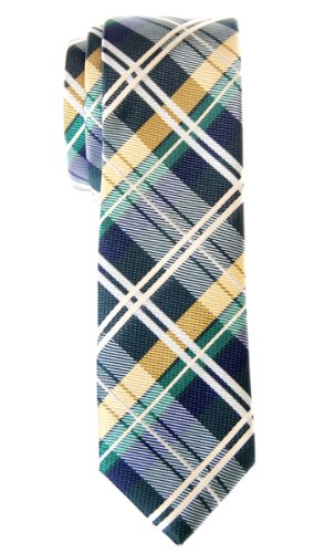 Retreez Elegant Tartan Check Woven Microfiber Skinny Tie - Dark Green, Yellow and Navy Blue