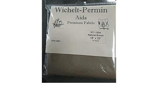 "Wichelt Imports PREMIUM Cross Stitch Fabric AIDA 14ct 18/"" X 25/"" NATURAL BROWN"