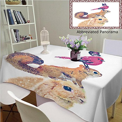 Unique Custom Cotton And Blend Tablecloths Illustration Rabbit Red Squirrel Watercolor Bird Butterfly Illustration T Shirt Graphics Cute BirdTablecovers For Rectangle Tables, 60
