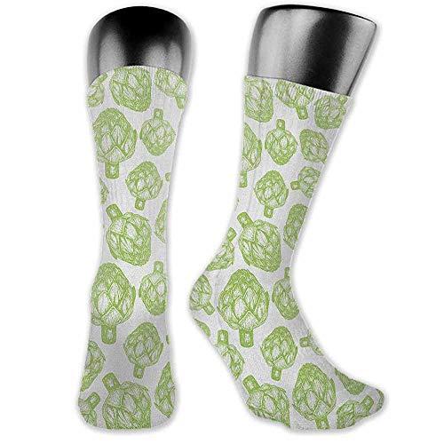 New Short Socks Artichoke,Sketch of Super Food Vegetables in Hand Drawn Style Nutritious Food Artwork, Apple Green,socks men pack dress