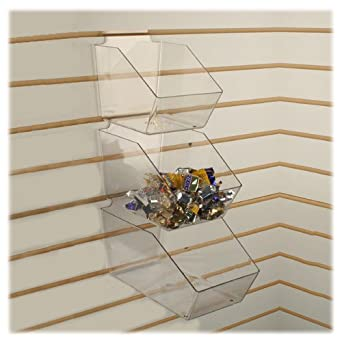279c64fb54f63 Slatwall Clear Acrylic Bin Multisize Bundle Pack (4 Small, 3 Medium & 3  Large Plastic Slat Bins)