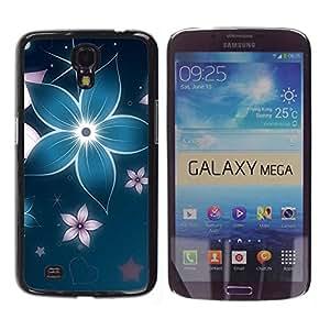 Caucho caso de Shell duro de la cubierta de accesorios de protección BY RAYDREAMMM - Samsung Galaxy Mega 6.3 I9200 SGH-i527 - Floral Flower Petal Blue Star Iridescent
