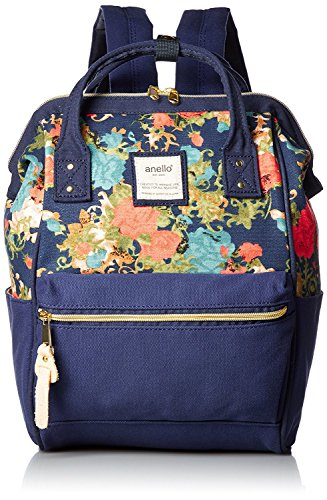 Anello Large Leather Backpack (Navy Blue) - 6