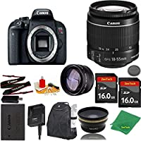 Great Value Bundle for T7I DSLR – 18-55mm STM + 2PCS 16GB Memory + Wide Angle + Telephoto Lens + Backpack