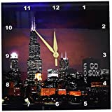 3dRose dpp_26369_1 Chicago Skyline at Night-Wall Clock, 10 by 10-Inch For Sale