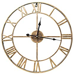 SOIBEA 18.5 Large Metal Wall Clock with Roman Numerals Gold, Silent Non-Ticking Vintage Style Skeleton Wall Clock, Wall Decor for Living Room Bedroom Lounge Office Cafe Loft Hotel Bar(47cm)