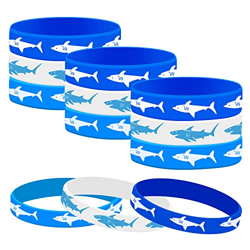 Sunshane 48 Pieces Shark Party Favors Rubber Bracelets Wristbands, Under the Sea, Shark Birthday Party Supplies Favors Gift Bag Fillers