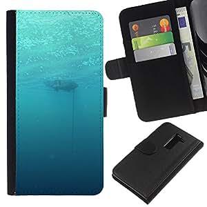 YiPhone /// Tirón de la caja Cartera de cuero con ranuras para tarjetas - Profundo Submarino Océano - LG G2 D800