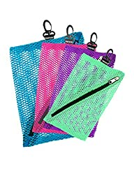 Vaultz Mesh Storage Bags, 4 Pack, Assorted Colors and Sizes (VZ03483)
