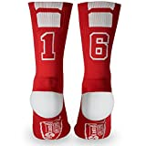 Custom Team Number Crew Socks | Athletic Socks by ChalkTalkSPORTS | Red | 16