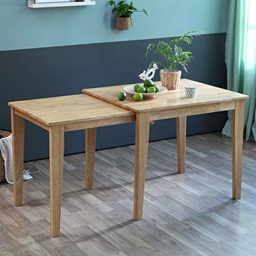"""Solid Hardwood Dining Expandable Table Rise 35"""" to 59"""", Mid Century Modern Rectangular Kitchen Leisure Desk for 2 to 4 Person (Natural)"""