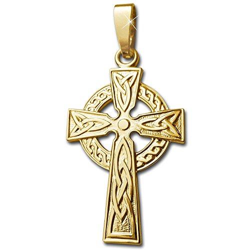 CLEVER sCHMUCK pendentif en forme de croix celtique 26 mm en véritable or 375/1000