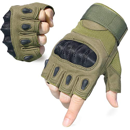 AXBXCX Tactical Touch Screen Plastic Hard Knuckle Fingerless Gloves for Army Military Motorcycle Fishing Cycling Racing Hunting Hiking Airsoft Paintball Shooting Green-XL ()