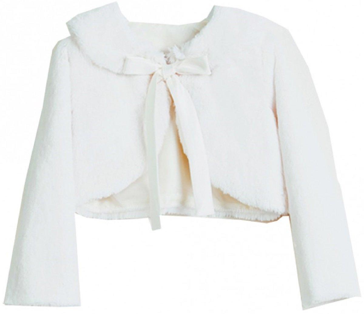 Dreamer P Little Girls Faux Fur Ribbon Long Sleeve Tie Flower Girl Bolero Jacket Cover Cape Ivory 6 (SC3K5)
