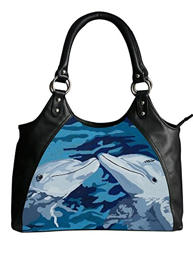 Dolphin Purse - Vegan Leather Retro Style Shoulder Bag - Taken From My Original Oil Painting, Support Wildlife Conservation (Dolphin - The Kiss)