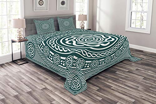 Lunarable Celtic Coverlet Set Queen Size, Ethnic Irish Circular Design with Clockwise Twisty Spiral Lines Insular Art, Decorative Quilted 3 Piece Bedspread Set with 2 Pillow Shams, Royal Blue White