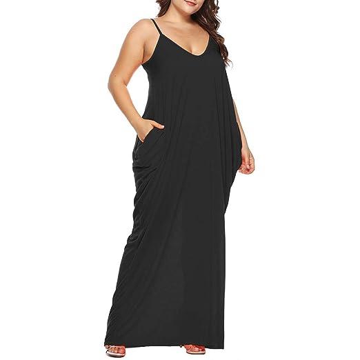 d4d9b4c20446 Women's Strappy Loose Long Dress Summer Casual Plain Flowy Pockets Loose  Beach Cami Maxi Dress Plus